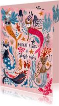 Verjaardagskaart zeemeermin poezen en meerkatten