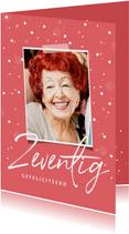 Verjaardagskaart zeventig stijlvol confetti met foto