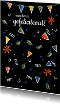 Verjaardagskaart zwart met gezellige illustratie