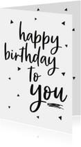 Verjaardagskaart -zwart wit driehoek