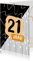 Verjaardagskaart zwartwit 21 jaar