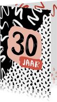 Verjaardagskaart zwartwit 30 jaar