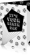Verjaardagskaart zwartwit voetballen