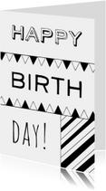 Verjaardagskaart zwartwit
