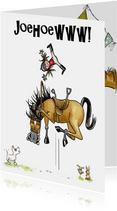 Verjaardagskaarten paard springt in de lucht Joehoeww