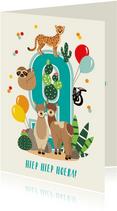 Verjaardagskaartje 9 jaar met vrolijke lama's