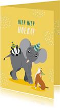 Verjaardagskaartje met vrolijke diertjes