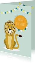Verjaardagskaartje met vrolijke en stoere leeuw