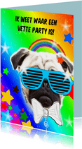 Verjaardagskaarten - Vette party hond