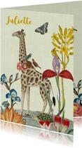 Vintage geboortekaartje met giraffe en bloemen