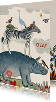 Vintage geboortekaartje met vrolijke stapel van dieren