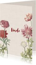 Vintage geboortekaartje voor een meisje met anemonen
