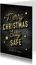 Vintage kerstkaart Merry Christmas Stay Safe, goud en zwart