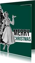 Kerstkaarten - Vintage kerstkaart met 50s vrouw