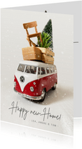 Vintage Umzugs-Weihnachtskarte mit VW Bus und Möbeln