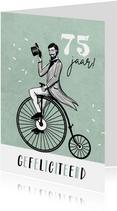 Vintage verjaardagskaart man fiets retro confetti