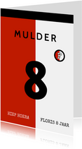 Voetbal rugnummer verjaardagskaart met leeftijd - rotterdam