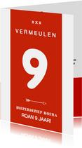Voetbal verjaardagskaart rugnummer met leeftijd - amsterdam