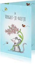 Vriendschap kaart met een muisje met roze vergeet-me-nietjes