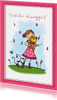 Vriendschapskaart met een meisje en knuffelbeer