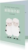 Vriendschapskaart met grappige illustratie van 2 schapen.