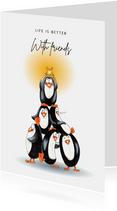 Vriendschapskaart met stapel pinguïns