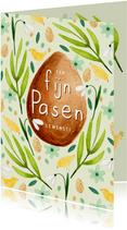 Vrolijk paaskaartje fijn pasen eieren lente kuikens bloemen