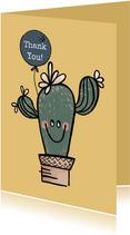 Vrolijke bedankkaart met cactus in pot en lichtblauwe ballon