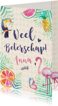 Vrolijke beterschapskaart Jungle met toekan en flamingo