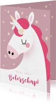Vrolijke beterschapskaart met eenhoorn en sterren