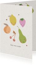 Vrolijke beterschapskaart met schattig fruit