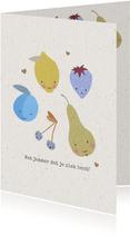 Vrolijke beterschapskaart voor een jongen met fruit