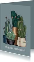 Vrolijke blauw-grijze verhuiskaart vol met cactussen