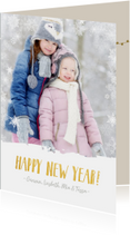 Vrolijke en hippe kerstkaart met eigen foto en sneeuw rand