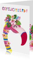 Vrolijke & kleurrijke verjaardagskaart met flamingo