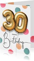 Vrolijke felicitatie verjaardagskaart ballon 30 jaar