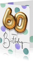 Vrolijke felicitatie verjaardagskaart ballon 60 jaar