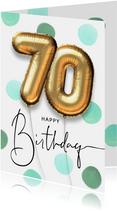 Vrolijke felicitatie verjaardagskaart ballon 70 jaar