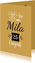 Vrolijke felicitatiekaart met cocktail voor de jarige