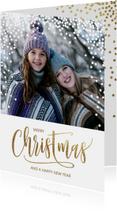 Kerstkaarten - Vrolijke foto kerstkaart sneeuw dots