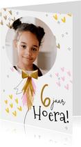 Vrolijke fotokaart met ballon, hartjes en glitters