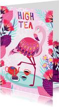 Vrolijke high tea uitnodiging met flamingo, taart en bloemen