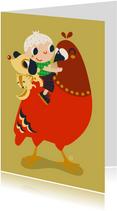 Kinderkaarten - Vrolijke kaart met een duif voor een jongen