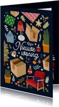 Vrolijke kerst-verhuiskaart met illustraties