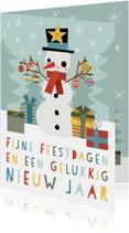 Vrolijke kerstkaart met blije sneeuwpop en typografie