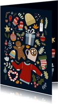 Vrolijke kerstkaart met kerst illustraties