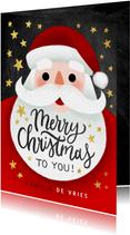 Vrolijke kerstkaart met kerstman, Merry Christmas en sterren