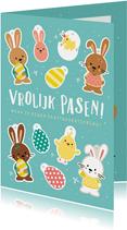 Vrolijke kinder paaskaart - maak je eigen paastak versiering