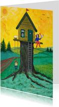 Vrolijke kinderkaart kinderen bij een boomhuis