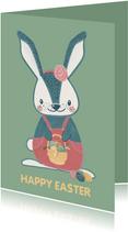 Vrolijke paaskaart met lief konijntje met mandje paaseieren